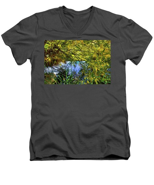 Men's V-Neck T-Shirt featuring the photograph A Peek At The River by David Patterson