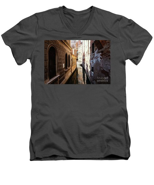 A Shadow In The Venetian Noon Narrow Canal Men's V-Neck T-Shirt