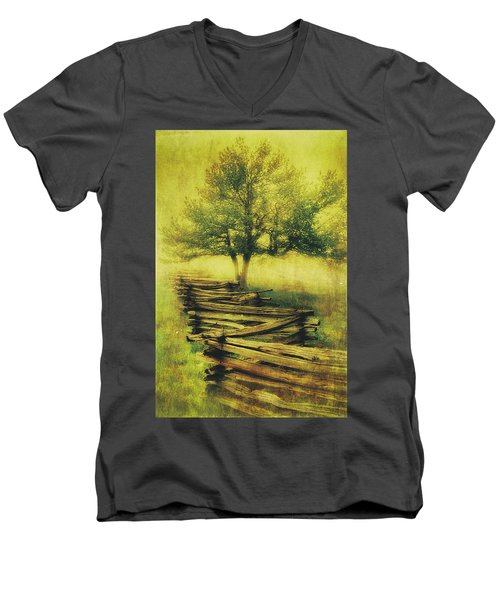 A Shady Tree On A Foggy Day Fx Men's V-Neck T-Shirt