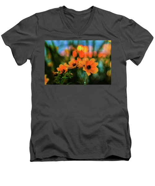 Sunflower Bokeh Sunset Men's V-Neck T-Shirt