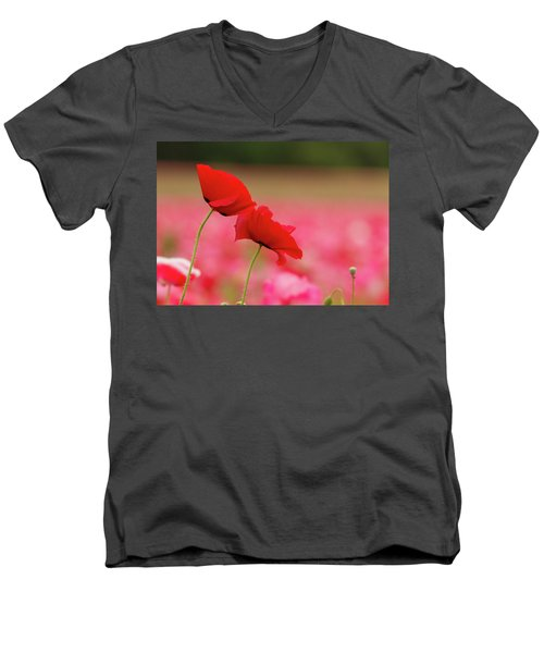 A Tale Of  Two Poppies Men's V-Neck T-Shirt