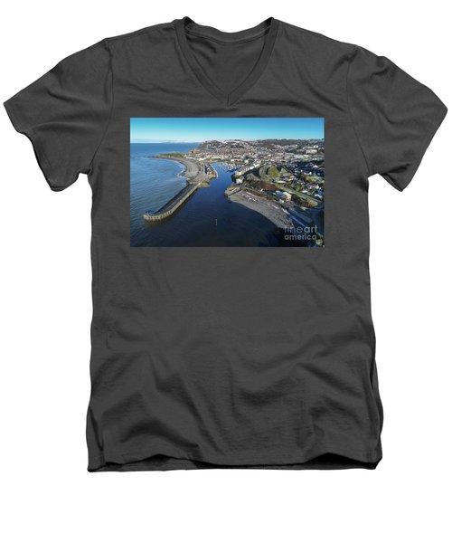 Aberystwyth Harbour From The Air In Winter Men's V-Neck T-Shirt