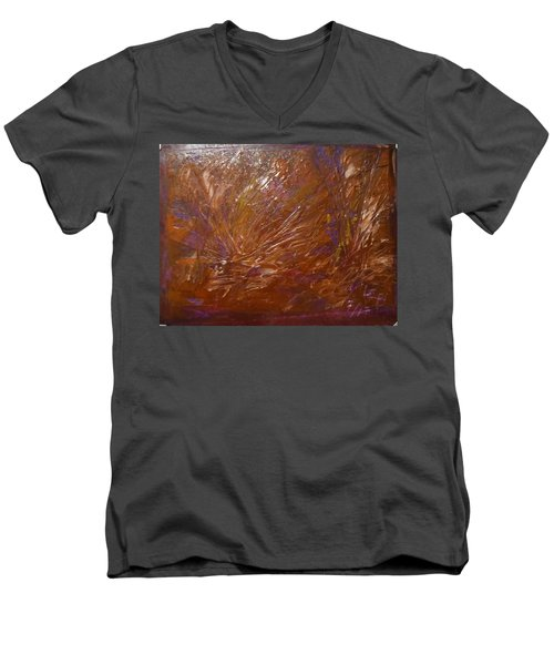Abstract Brown Feathers Men's V-Neck T-Shirt