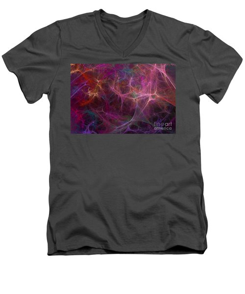Abstract Colorful Fireworks Men's V-Neck T-Shirt