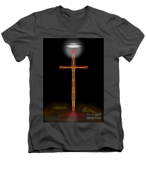 Abstract Cross With Halo Men's V-Neck T-Shirt