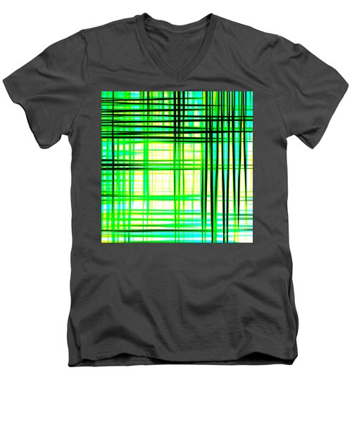 Abstract Design With Lines Squares In Green Color Waves - Pl409 Men's V-Neck T-Shirt