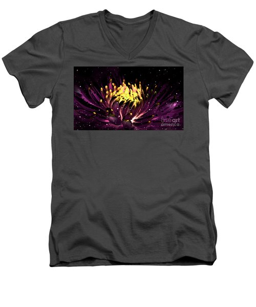 Men's V-Neck T-Shirt featuring the photograph Abstract Digital Dahlia Floral Cosmos 891 by Ricardos Creations
