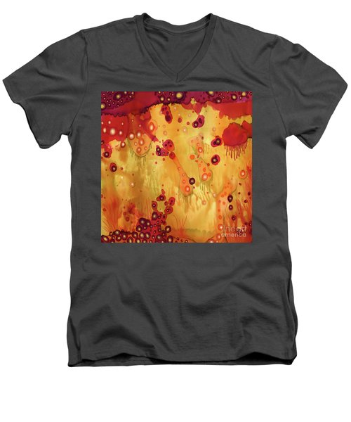 Men's V-Neck T-Shirt featuring the painting Abstract Ink 27 by Amy E Fraser