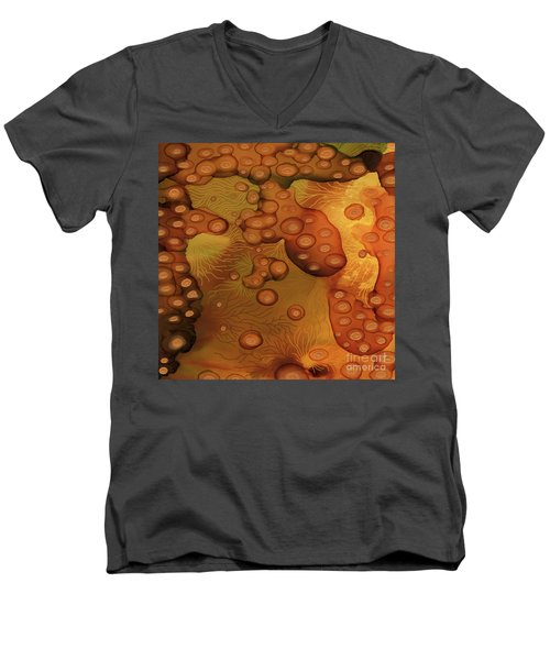 Men's V-Neck T-Shirt featuring the painting Abstract Ink 29 by Amy E Fraser