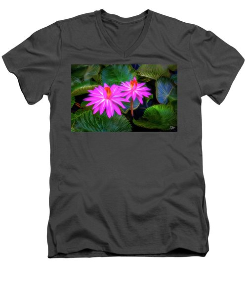 Abstracted Water Lilies Men's V-Neck T-Shirt