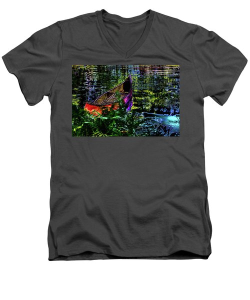 Men's V-Neck T-Shirt featuring the photograph Adirondack Guide Boat by David Patterson