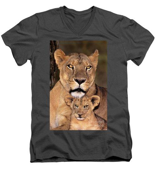 African Lions Parenthood Wildlife Rescue Men's V-Neck T-Shirt