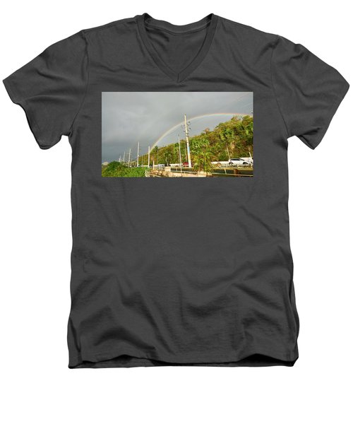 Aguadilla Rainbow Men's V-Neck T-Shirt