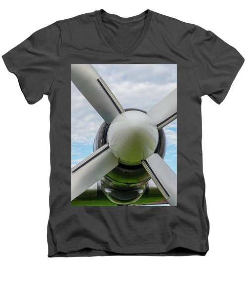Men's V-Neck T-Shirt featuring the photograph Aircraft Propellers. by Anjo Ten Kate
