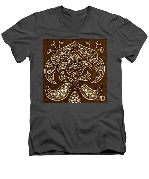 Men's V-Neck T-Shirt featuring the painting Alien Bloom 26 by Amy E Fraser