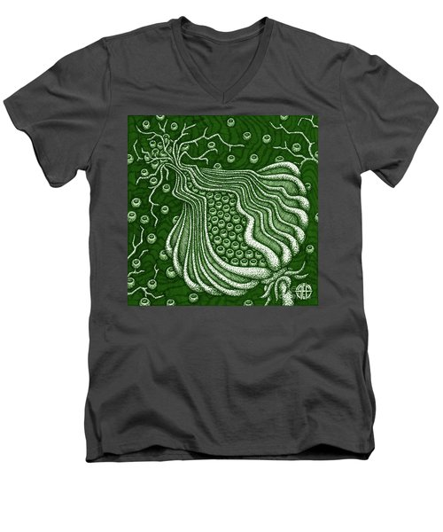Men's V-Neck T-Shirt featuring the painting Alien Bloom 5 by Amy E Fraser