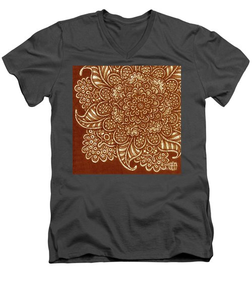 Men's V-Neck T-Shirt featuring the painting Alien Bloom 7 by Amy E Fraser