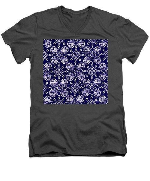 Men's V-Neck T-Shirt featuring the painting Alien Bloom 9 by Amy E Fraser