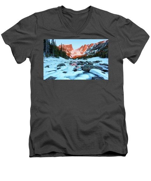 Alpenglow At Dream Lake Rocky Mountain National Park Men's V-Neck T-Shirt