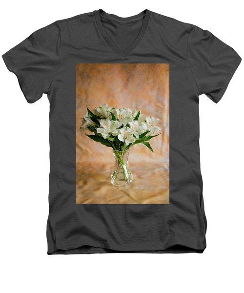 Alstroemeria Bouquet On Canvas Men's V-Neck T-Shirt