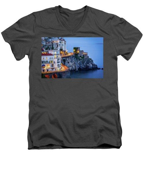 Amalfi Coast Italy Nightlife Men's V-Neck T-Shirt
