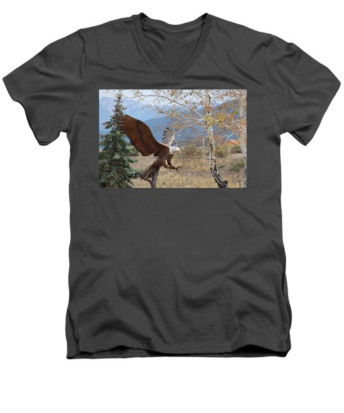 American Eagle In Autumn Men's V-Neck T-Shirt