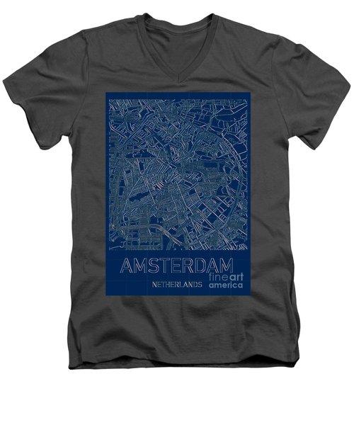 Amsterdam Blueprint City Map Men's V-Neck T-Shirt