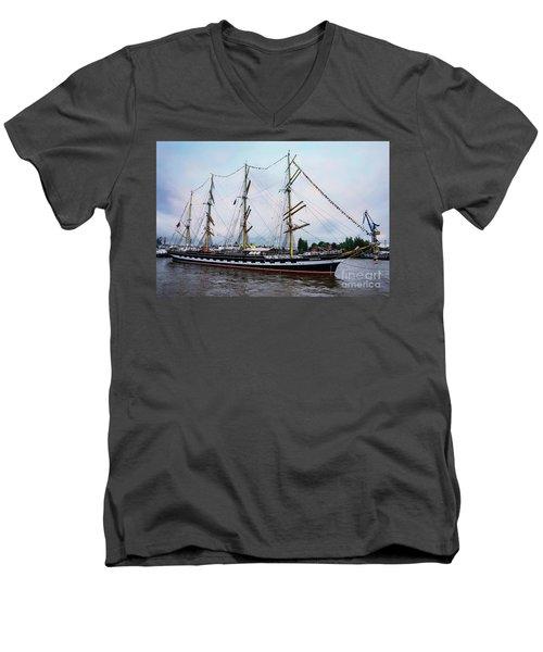 An Exit Sailboat Krusenstern On Parade Men's V-Neck T-Shirt