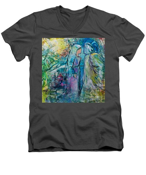 Men's V-Neck T-Shirt featuring the painting Angel Encounter by Deborah Nell
