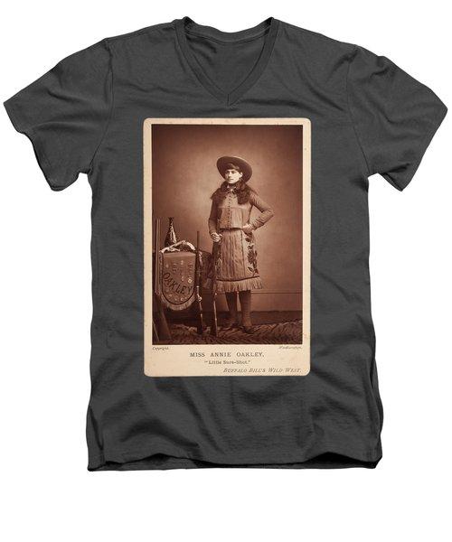 Annie-oakley-woodburytype-cabinet-card-c1890s Men's V-Neck T-Shirt