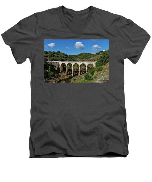 Antique Mertola's Bridge In Alentejo Men's V-Neck T-Shirt