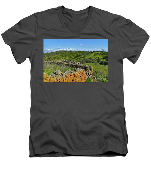 Antique Stone Wall Of An Old Farm Men's V-Neck T-Shirt