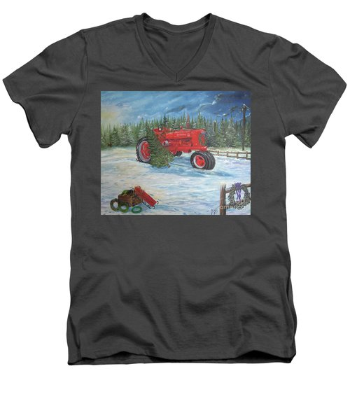Antique Tractor At The Christmas Tree Farm Men's V-Neck T-Shirt