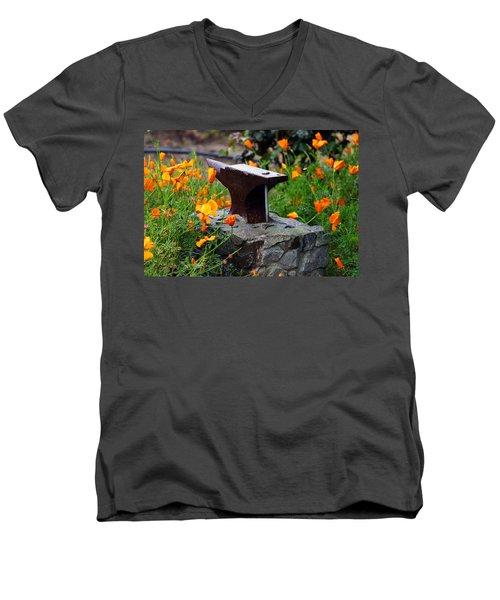 Anvil In The Poppies Men's V-Neck T-Shirt