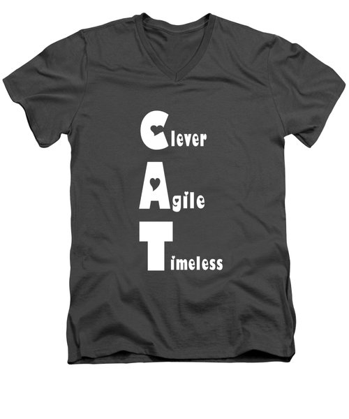 Cat With White Words Men's V-Neck T-Shirt