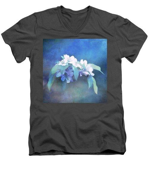 Painted Crabapple Blossoms Men's V-Neck T-Shirt
