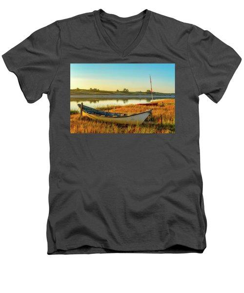 Boats In The Marsh Grass, Ogunquit River Men's V-Neck T-Shirt