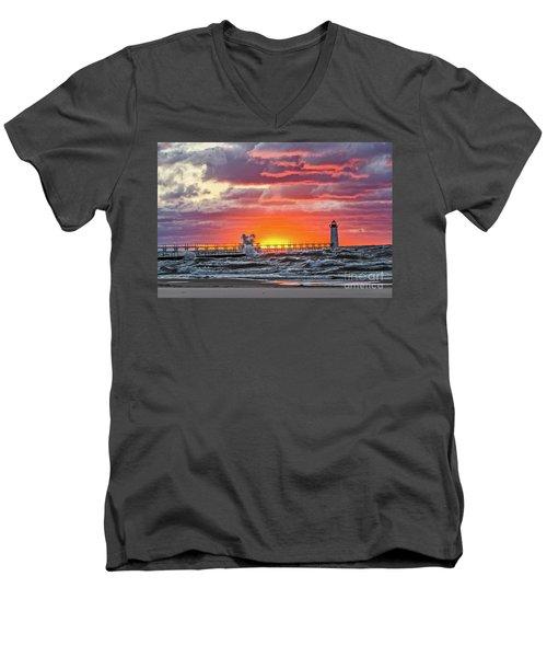 At The Beginning Of The Sunset Men's V-Neck T-Shirt