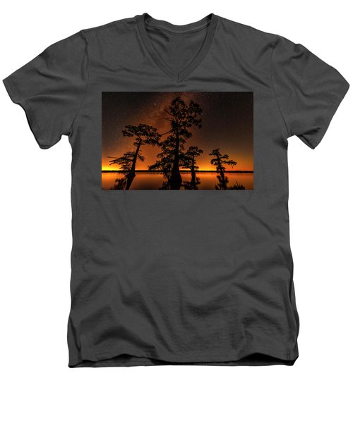 Men's V-Neck T-Shirt featuring the photograph Atchafalaya Basin On Fire by Andy Crawford