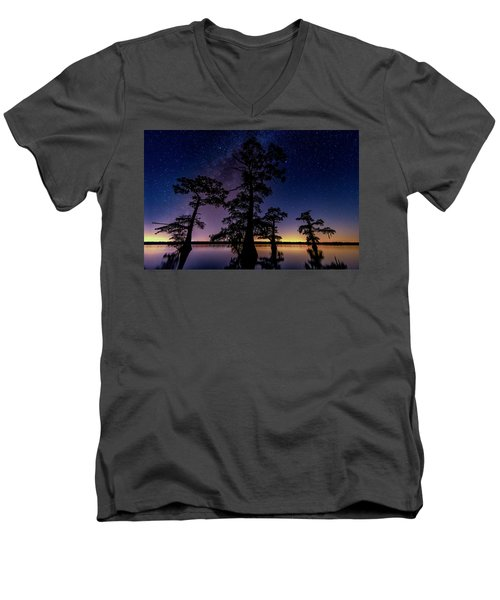 Men's V-Neck T-Shirt featuring the photograph Atchafalaya Basin Under The Miky Way by Andy Crawford