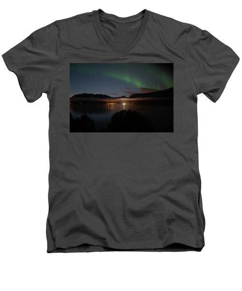 Aurora Northern Polar Light In Night Sky Over Northern Norway Men's V-Neck T-Shirt
