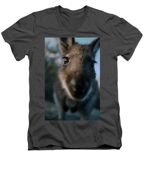 Australian Bush Wallaby Outside During The Day. Men's V-Neck T-Shirt