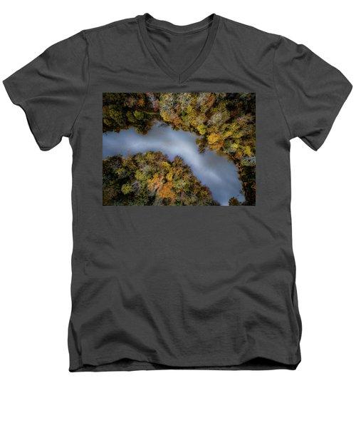 Autumn Arrives At The River Men's V-Neck T-Shirt