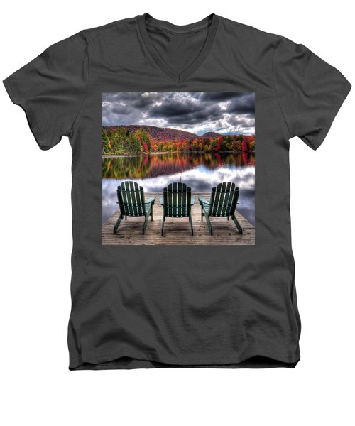 Men's V-Neck T-Shirt featuring the photograph Autumn At The Lake by David Patterson