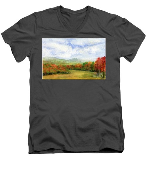 Autumn Day Watercolor Vermont Landscape Men's V-Neck T-Shirt
