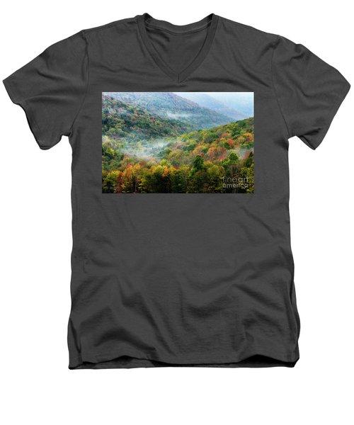 Autumn Hillsides With Mist Men's V-Neck T-Shirt