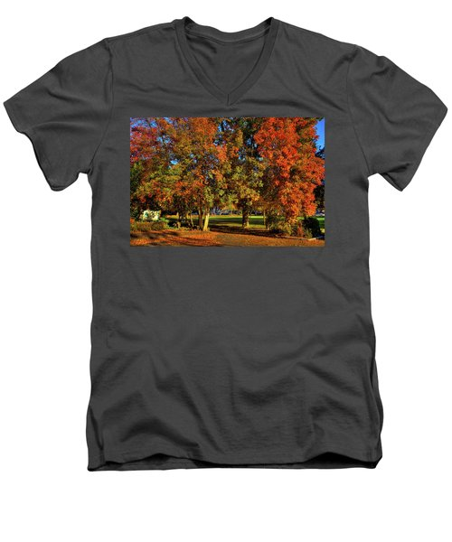 Men's V-Neck T-Shirt featuring the photograph Autumn In Reaney Park by David Patterson