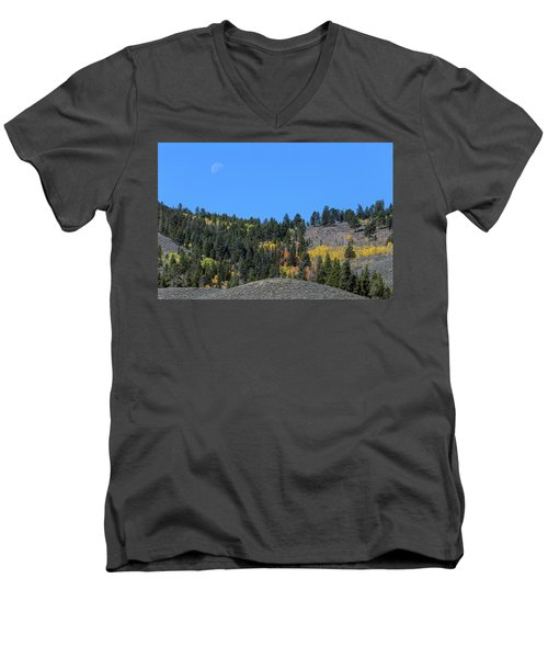 Men's V-Neck T-Shirt featuring the photograph Autumn Moon by James BO Insogna
