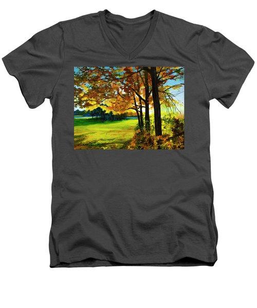 Sunset Over The Park Men's V-Neck T-Shirt