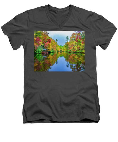 Men's V-Neck T-Shirt featuring the photograph Autumn On Mirror Lake by Andy Crawford